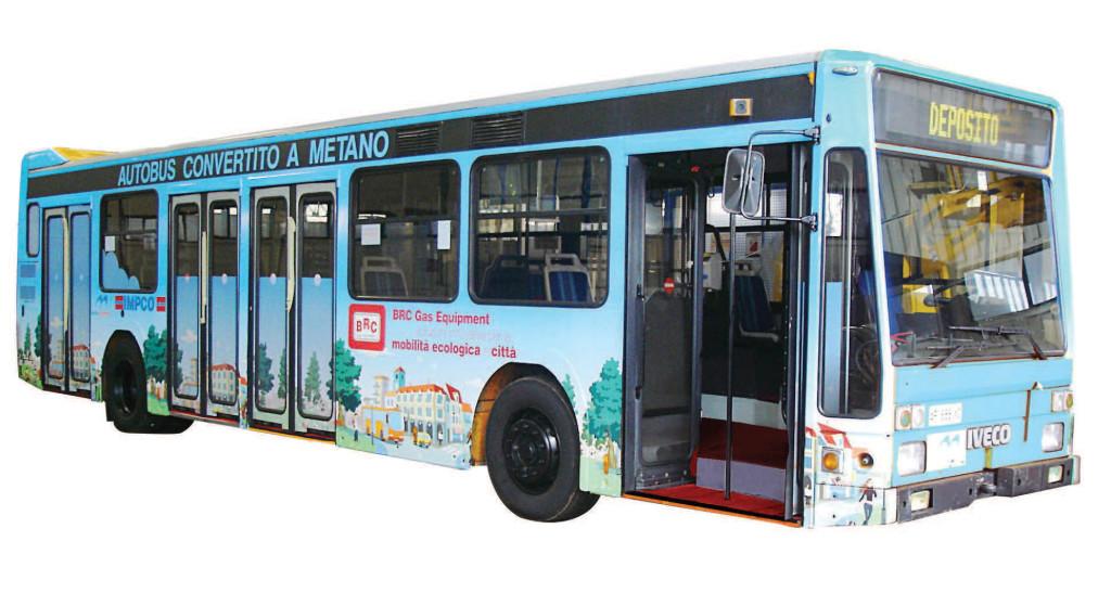 Un'autobus a metano con impianto BRC