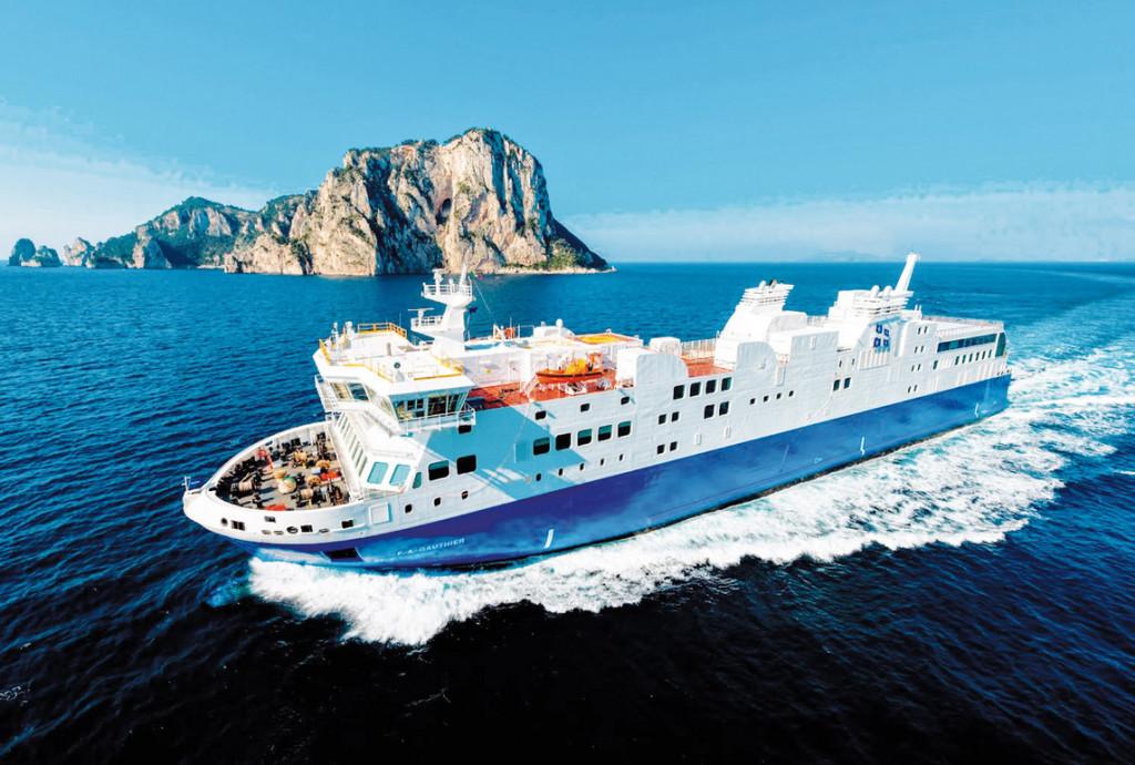 Il F.A.Gauthier, primo traghetto italiano a GNL della Fincantieri varato nel cantiere di Castellammare lo scorso aprile